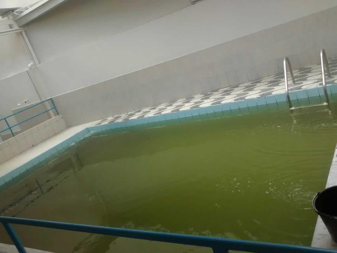 Gua da piscina com cor de ferrugem for Aclarar agua piscina verde