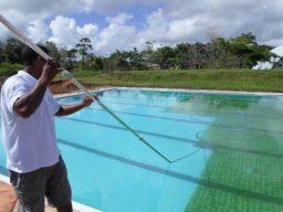 Aspiração do verde da piscina