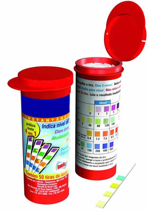 Fita teste para medir o cloro livre na piscina