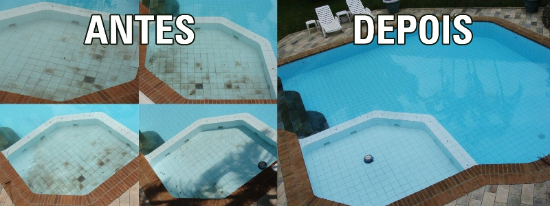 Retirando as manchas da piscina - Antes e depois do tratamento