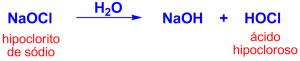 Reação de formação do ácido hipocloroso na piscina
