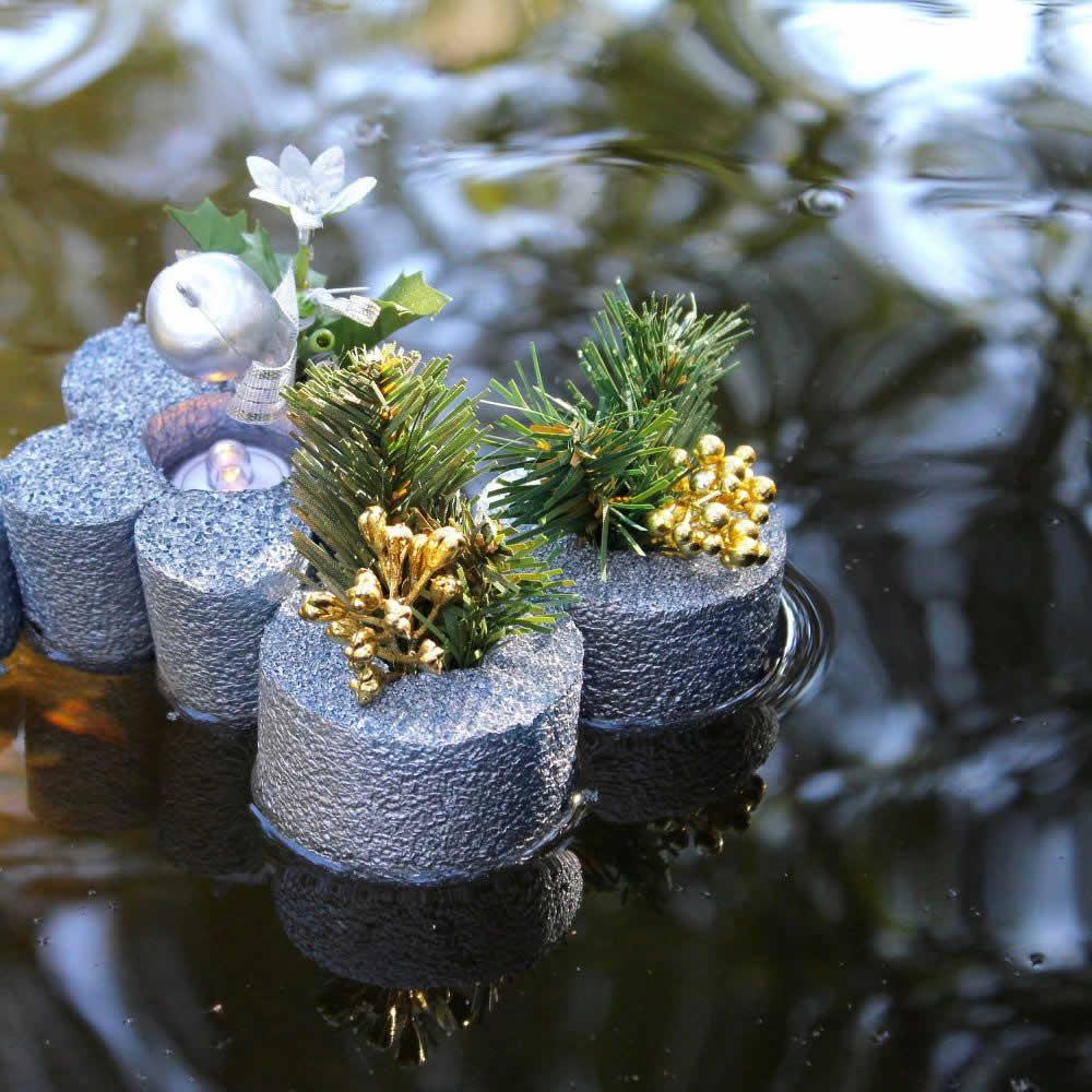 Resultado final da decoração natalina na piscina