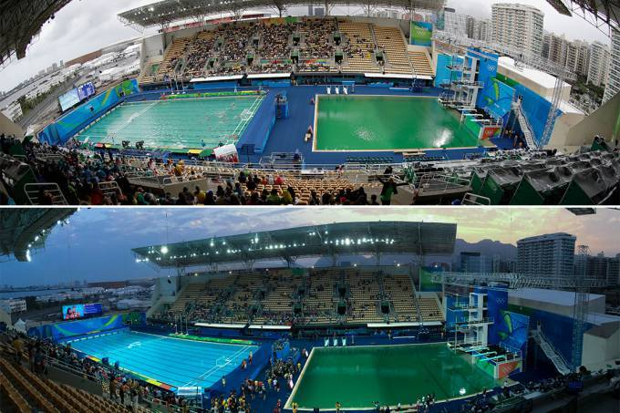 A hist ria da piscina verde na olimp ada rio 2016 pool for Eliminar algas piscina desmontable