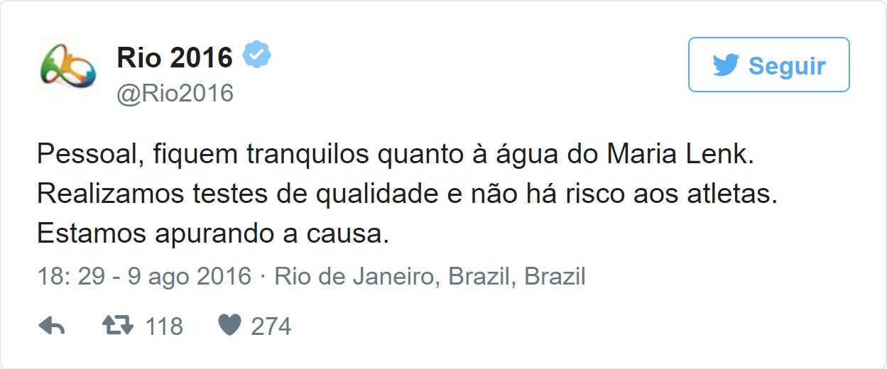 Tweet do Rio 2016 sobre a piscina verde na Olimpíada