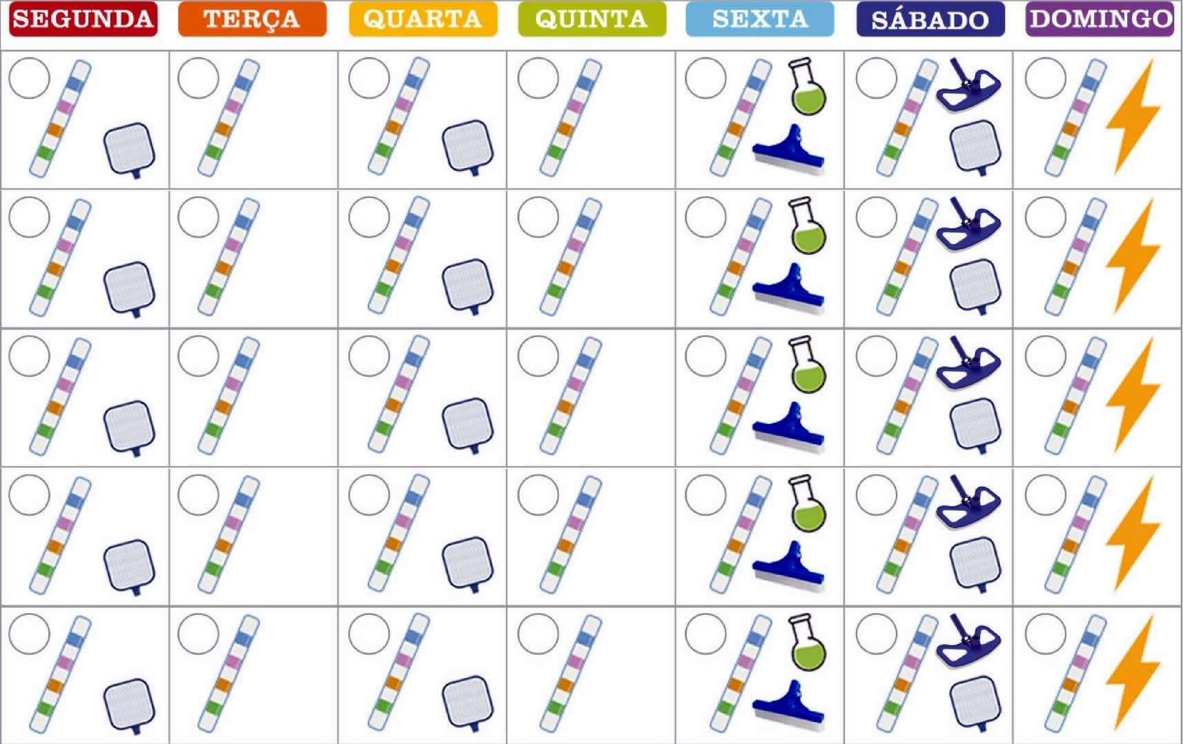 Tabela para limpeza da piscina no verão